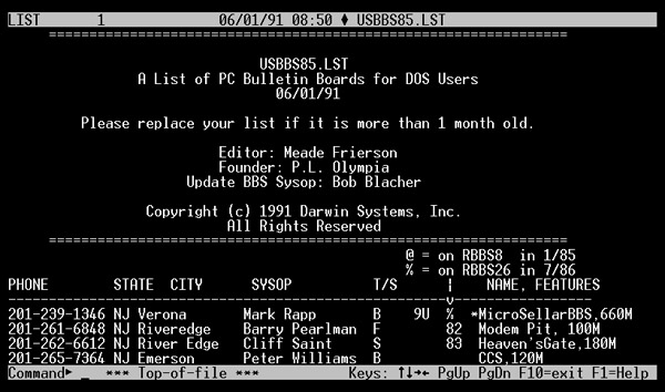 USBBS BBS List on White Screen